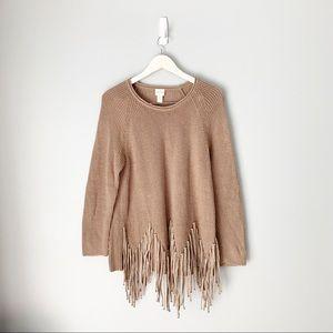 Chico's Brown Fringe Bottom Sweater